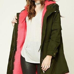 Army Green/Hot Pink Faux Fur Parka